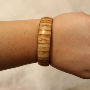 Cream and Brown Stripped Bangle Bracelet